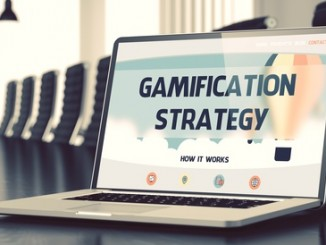 Gamification Strategy Concept. Closeup Landing Page on Laptop Screen on Background of Meeting Room in Modern Office. Blurred Image with Selective focus. 3D Illustration.